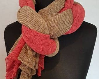 Light red brown linen scarf, double scarf, linen scarves, linen scarf, light red scarf, light brown scarf, summer scarf, pure linen scarf