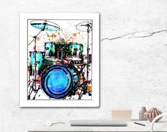 Drum Art Print, Drum Watercolor, Percussions, Drum Kit, Cymbals, Drum Player, Rock Bands, Rockstar, 5 Piece Drum Set, Music Pop Art, Music