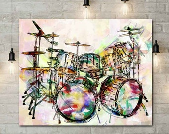 Drum Art, Drums, Drummer Gift, Music Prints, Drums, Music Mixed Media, Rock n Roll Art, Rock and Roll Prints, Drum Sticks, Percussions