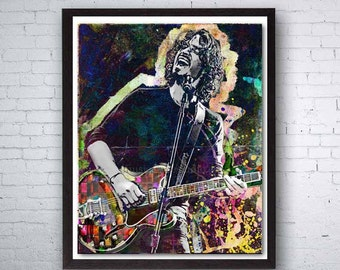 Chris Cornell, Audioslave, Soundgarden, Grunge Rock, Guitar, Chris Cornell Poster, Music Legend, Music Room, Rock n Roll Art, Rock Legend