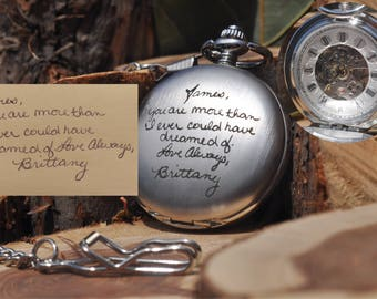 Handwriting, Custom, Mechanical Pocket Watch, Hand Wind-up, Memorial, Engraved Pocket Watch, Personalized, Handwritten, Double Sided