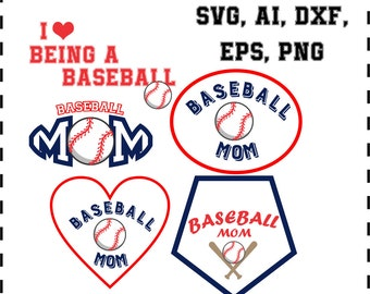 Baseball mom svg, ai, eps, dxf, png. INSTANT DOWNLOAD
