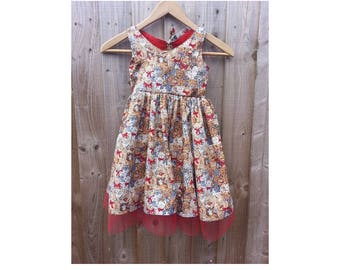 Teddy & Cat Print Dress - Age 5 - Cut-Out Back - Tulle Trim