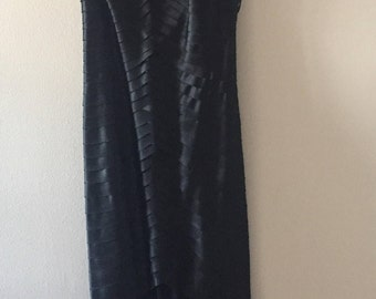Vintage 80s Tadashi Black Strapless Formal Evening Gown Size 4 (UK size 6)