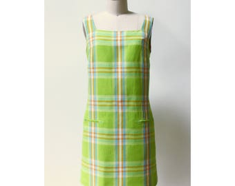 Vintage 1990s DKNY Mod Plaid Dress 6