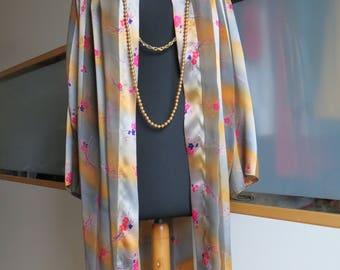 High-quality kimono manteau floral print size 38-44 new vintage