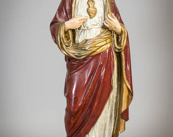"Stunning 17"" Large Antique Plaster Statue Sacred Heart Jesus Christ Our Lord 8"
