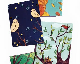 Blank Note Card Set - bird notecard set, blank greeting cards, blank notecard set, blank card set, cute note card set, cute notecard set