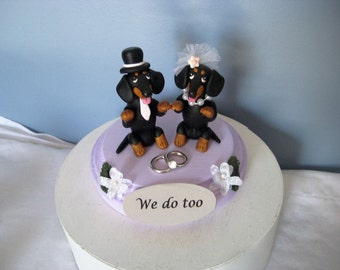 Grinning Dachshund dogs Wedding Cake Topper, handmade, clay, whimsical, keepsake, personalized, black and tan