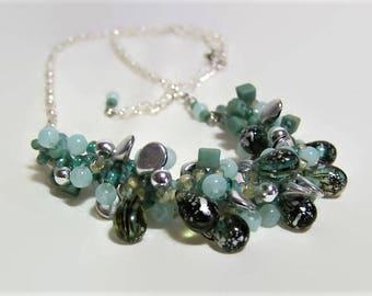 Beaded Necklace, Gemstone Necklace, Statement Necklace, Blue & Silver Knitted Beaded Necklace