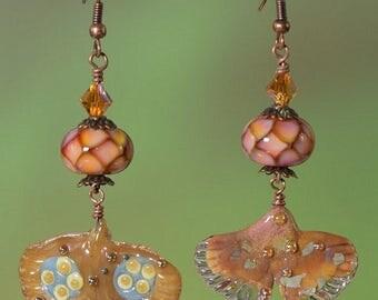 Glass Ginko Leaf Earrings, Lampwork Beaded Earrings, Peach Earrings, Crystal Earrings, Abstract Earrings, Artisan Earrings