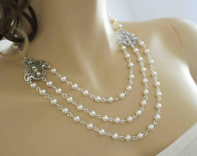 Vintage Inspired Bridal Statement Necklace Back Drop Wedding Jewelry Swarovski Pearls Art Deco Downton Abbey Bridal Jewelry 1940s Layers