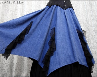 Running Away with the Circus - Batwing Hemmed Skirt - Vintage Blue Chambray & Black Shadowstripe Flounces - Plus Size OOAK - Ready to Ship!