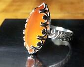 Carnelian Sterling Silver Ring /Carnelian Marquise Silver Ring / Handmade Carnelian Statement Ring / US Size 7 Ring