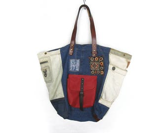 Denim Bag, Denim Hobo Bag, Reusable Shopping Bag, Recycled Handbag, Shoulder Bag, Leather Denim Bag, Jeans Handbag, Boho Bag, Borse In Jeans