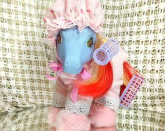 Vintage My Little Pony G1 Sweet Dreams Pony Wear Near Complete Rare MLP Pink Fluffy Slippers - G1 1984 Near Mint Condition - Outfit Only