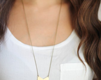 Geometric Triple Chevron Necklace - Brass | Stainless Steel | 14k Gold Filled | Sterling Silver