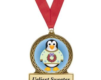 Ugly Christmas Sweater, Award, Christmas Sweater Award, Penguin, Ugly Sweater Party, Penguin Metal Award, Christmas Award