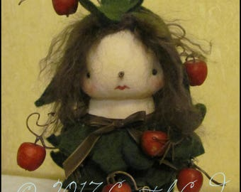 Apple tree girl Doll Whimsical Farmhouse Kitchen decor gothic country Red cottage chic shabby primitive creepy cute fall decor Farm Quirky