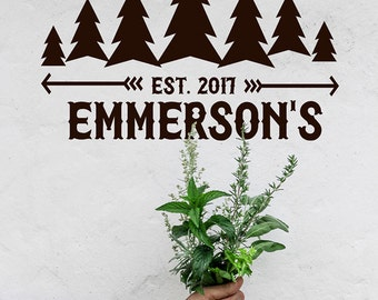 Custom Wall Decal, Rustic Wall Decor, Lodge Decor, Mountain Tree Monogram, Custom Monogram Family Name gift, Family Gifts, RV Decals, Arrows