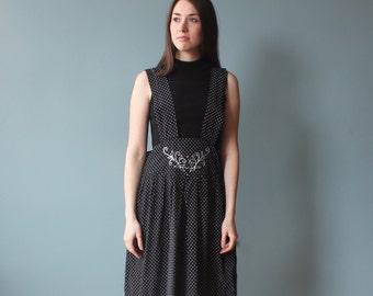 90s pinafore culottes | black white polka dot pinafore shorts | large - xl