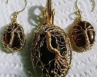 Tree of Life Pendant and Earring set natural gemstones - birthstones- moonstone - sunstone - lava rock -14K gold or sterling silver