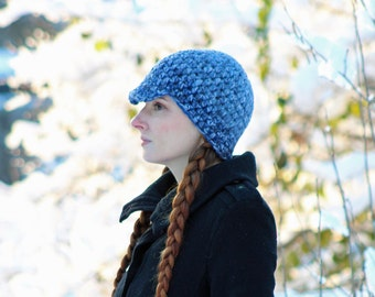 Blue Tones Hat Billed Beanie Hat