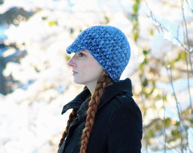 Blue Tones Hat Billed Beanie Hat