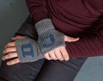 Grandfather Gift Knit Fingerless Mittens Mens Initial Gloves Grey Mens Gloves Personalized Gloves For Him Winter Gloves Warm Mens Gloves
