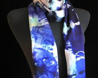 Silk Scarf Hand Dyed Shibori Scarf Blue and White Spring Scarf Unqiue Scarf by FiberFusion  - Indigo Sky