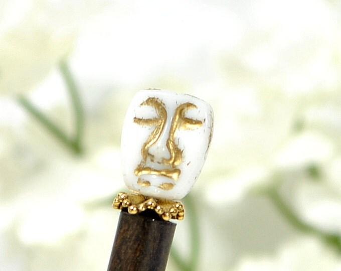 "Beaded Hairstick Japanese Hair Stick Hair Chopstick Happy Sad Face Hair Pin Hair Beads Bun Pin Wooden Hair Stick For Sale - ""Arabesque"""