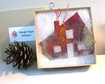 Home Christmas Ornament, Personalized Gift, Rustic Copper, Metal Holiday Decoration, Home Sweet Home, Bless This House, God Bless Our Home
