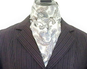 Equestrian Stock Tie, Soft Sage Green, Grey Blue Paisley, Two Fold, Riding Attire