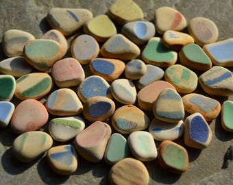 Genuine Beach Sea Pottery - Beachy Pastel Colors, Small Colorful Shards, Beautiful Shapes