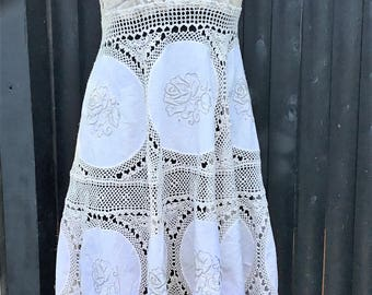Boho dress,Vintage lace dress ,Repurposed clothing ,Reconstructed ,Altered clothing,Slip dress ,Remade,Recycled, boho wedding , lace dress,