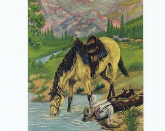 Vintage Western Postcard by Dude Larsen, Linen Postcard, Cowboy and His Horse, Rustic Country Home Decor, Postmarked Yuma Arizona in 1940