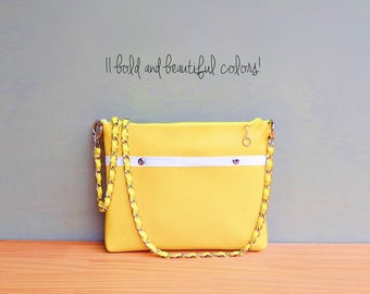 Yellow Vegan Crossbody Bag, Faux Leather Polka Dot Purse with Custom Length Chain Strap, Vinyl Shoulder Bag with Silver Accents,  Handmade