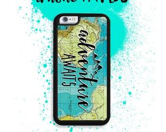 iPhone 7 or 7 PLUS Adventure Awaits Travel Vintage Map Phone Case