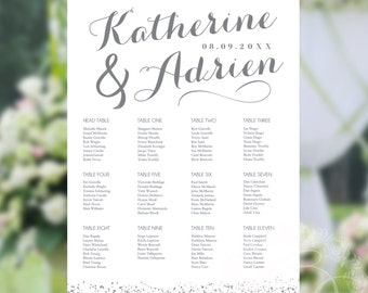 Wedding Seating Chart or Seating Plan Poster - White and Silver Glitter Confetti - Rush Digital File