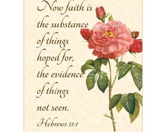 FAITH Is The SUBSTANCE Of HOPE Hebrews 11:1 VintageVerses Christian Home Decor Calligraphy Wall Art Parchment Art 5x7 Inspirational Wall Art