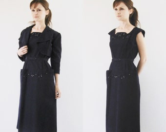 Vintage 1940s Dress Navy Blue Beaded Embroidered Tailored Jacket Suit Set XS/S