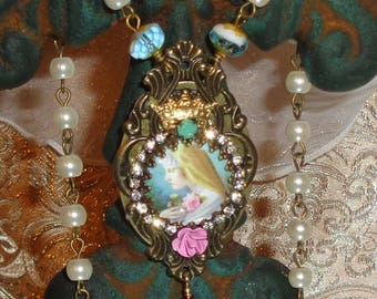 Mary with rose image art print artisan rosary chain necklace pendant Sacred Jewelry Pamelia Designs