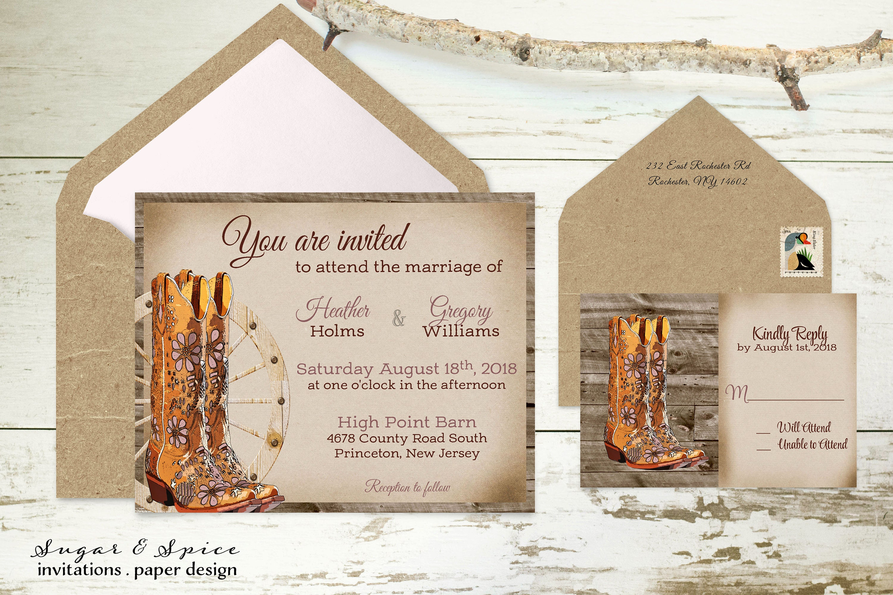 Boots Wedding Invitations: Country Western Wedding Invitation With Cowboy Boots Rustic