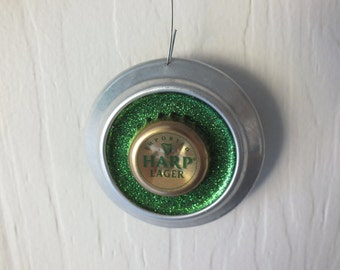 Harp Lager Ornament - Recycled Beer Can