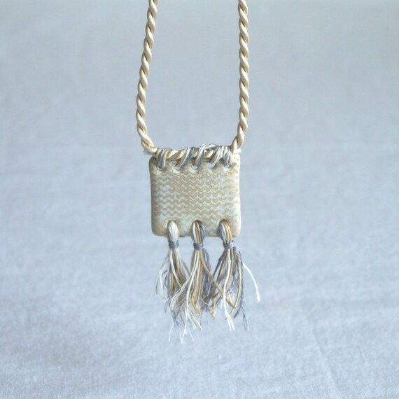 Natural square knit rope necklace TASSEL necklace satin cord with linen tassels, artisan ceramic pendant natural glaze