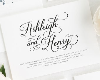 Vintage Script Wedding Invitations - Deposit