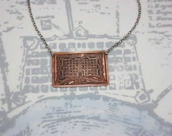 French Quarter Etched New Orleans Jewelry - 1700's Historical Map