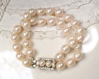 VENDOME Art Deco Pearl Rhinestone Bridal Bracelet 1920 Two Strand Ivory Glass Pearl Ornate Pave Silver Clasp Vintage Wedding Gatsby Flapper