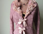 Dusty Rose Pink Brocade Jacket and Necklace, Upcycled Recycled Repurposed Clothing, Shabby Chic Pink Blazer, Mori Girl Clothing, Eco Fashion