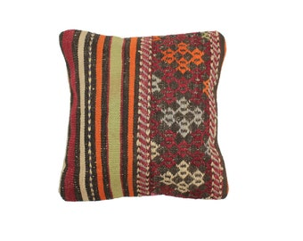 Kilim Pillow Cover with Bold Stripes and Stitched Geometric Detail with Saturated Vegetable Dye Colors